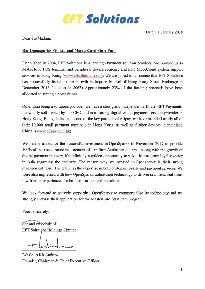 EFT Solutions supports OpenSparkz Funding Round Press Release 20171101
